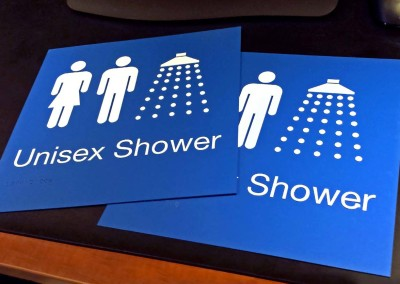 Laser Engraved Shower Signs w/ Braille