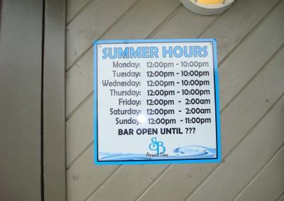 Aluminum Hours Sign