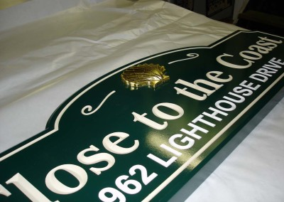 Carved Sign w/ 23k Raised Gold Leaf Shell