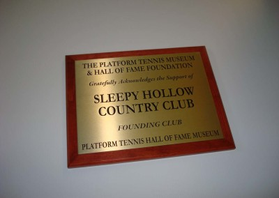 Etched Bronze Plaque on Stained Wood Back