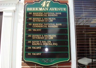 Carved Directory Sign w/ Changeable Aluminum Tenant Panels