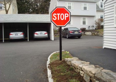 Post Mounted Reflective Aluminum Stop Sign w/ Metal Frame