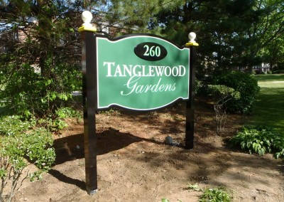 Post Mounted Carved Sign w/ Raised Address Number
